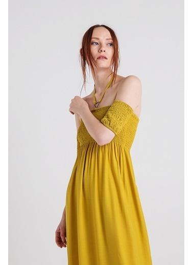 Xtsy Kayık Yaka Uzun Elbise Hardal
